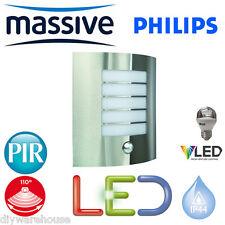 PHILIPS MASSIVE LED 5.9 WATT OSLO C/W PIR WALL LANTERN STAINLESS STEEL FINISH