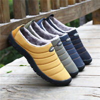 Men Warm Fur Lined Snow Boots Winter Outdoor Slippers Slip On Shoes Waterproof