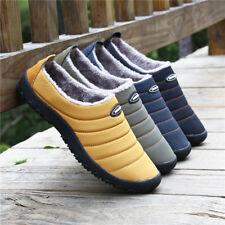 Men Warm Fur Lined Snow Boots Winter Outdoor Slippers Slip On Shoes Waterproof