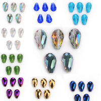 10Pcs Cut Glass Crystal Teardrop Spacer Loose Beads Jewelery Making Bead 18mm