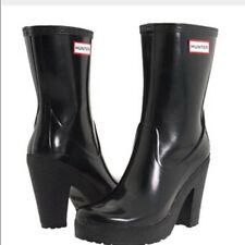 "Rare Hunter Arnie Black 4"" Heel Rubber Rain Boots US8 EU39 UK6 EUC Gummistiefel"