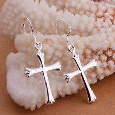 beautiful Fashion Silver Cute women Romantic pretty cross 925 Earring HOT E305
