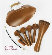 YDC Violin Boxwood Fitting 8 Piece Set --German Tailgut --Flat Flesch Chinrest