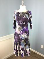 Jones New York Xs 2 Gray Purple Dress 3/4 sleeve Fit Flare Career Cocktail EUC