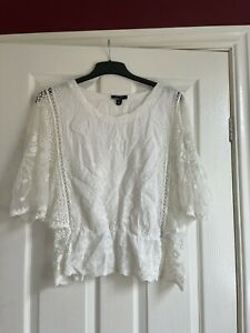 New Look Size L - White, Lace, Sheer Floral Blouse