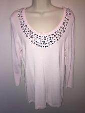JOSEPH A Ladies Rhinestone Pink Sweater Crystal Scoop Neck Clear Jewel Medium M