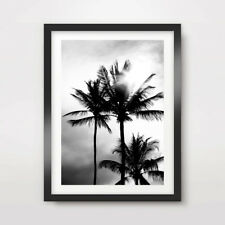 BLACK WHITE TROPICAL ART PRINT BEACH Poster A4 A3 A2 Palm Tree Silhouette