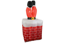 QTX Inflatable Santa Stuck Chimney Self Inflating Christmas Light up Decoration