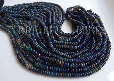 "7"" strand black Ethiopian WELO OPAL smooth gem stone rondelle beads 3.5mm - 4mm"