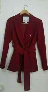 WISH The Designer Label Womens Maroon Double Breasted Military Blazer Size 10