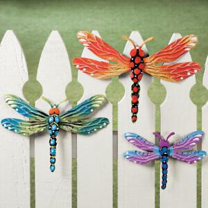 Set Di 3 Whimsical Colorato Libellula Metallo Giardino Recinto Sculture