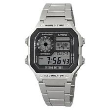 Casio Classic World Time LCD Digital Wrist Watch Stainless Steel Silver Band