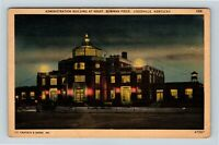 Louisville KY, Bowman Field, Administration, Night, Kentucky, Linen Postcard Z35