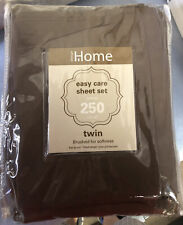Home Design Easy Care Brown Twin 3 Pc 100% Sheet Set.Thread Count 250