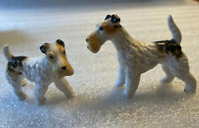 Vintage Small Porcelain Ceramic Wire Haired Fox Terrier Dogs (2) Figurines