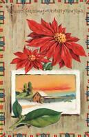 EARLY 1900's VINTAGE EMBOSSED POINSETTIA SNOWY SCENE MERRY CHRISTMAS POSTCARD