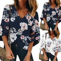 Women's V Neck Floral Mesh Panel Blouse 3/4 Bell Sleeve Casual Loose Top Shirt