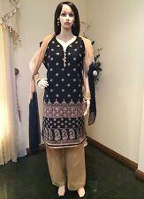 "52"" XXXL Cotton Salwar Kameez Indian Bollywood Casual Dress Black Beige C12"