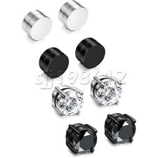 4 Pair Mens Womens Stainless Steel Silver CZ Stud Earrings Magnetic Non Piercing