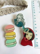 Pin jewelry gift craft Scrapbooking Set of 3x Accessory Brooch badge
