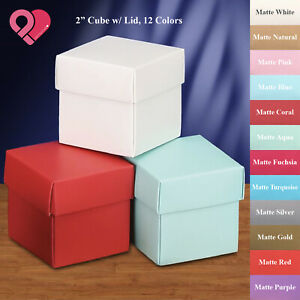 576 Bulk Cube Square Wedding Party Favor Candy Nut Gift Box Metallic Pearl Matte