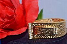 Kenneth Jay Lane HAMMERED GOLD RHINESTONE BUCKLE Bracelet Signed KJL, Rare