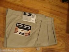 HAGGAR KHAKI PANTS-PLEATED-32W X 30L-STAIN RESISTANT-CLASSIC FIT-NEW-WRINKLE FRE