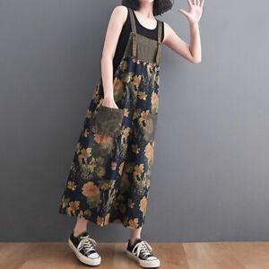 Ladies Denim Overalls Floral Wide-leg Jumpsuit Rompers Crop Jeans Summer Loose