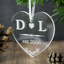 Personalised Cuore Acrilico Decorazione Di Natale Decorazione Albero Natale Regalo Di Nozze