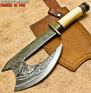 SFK Unique Handmade Damascus Steel Camel Bone Hunting Clever Chopper Axe Knife