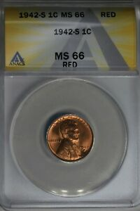 1942-S  .01  ANACS  MS 66 RED  Lincoln Head Cent, Lincoln One Cent