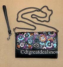 COACH Leather Crossbody Bag Purse Clutch Black or Metallic Leather F30256 F22828