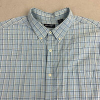 Puritan Button Up Shirt Mens 2XL Blue Short Sleeve Cotton Nylon Check Pocket