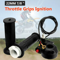 """Motorcycle 7/8"""" Handlebar Hand Grips Twist Throttle Cable Assembly For Dirt Bike"""