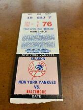 1984 New York Yankees v Baltimore Orioles Baseball Ticket Larry Sheets MLB Debut