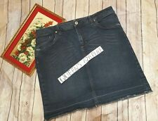 French Cuff Women's 12 Stretch Distressed Blue Denim Jean Skirt Jeans