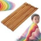 "12 Size Bamboo Handle Crochet Hook Weave Yarn Crafting Knitting Needle Set 6"" MT"