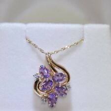 .015 ctw Diamonds & Amethyst, 10K Singapore Chain & 14K Pendant Both Yellow Gold