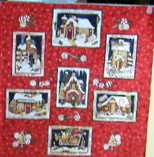 """1 Beautiful """"Peppermint Cottage"""" Christmas Cotton Quilting Fabric Panel"""