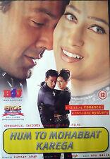 HUM TO MOHABBAT KAREGA - ORIGINAL EROS BOLLYWOOD DVD - Bobby Deol, Karishma K.