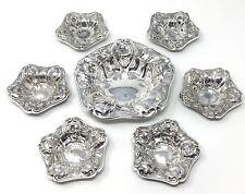 Van Bergh Silver ART NOUVEAU 7 piece NUT DISH Bowl Salt SET -Smithsonian catalog