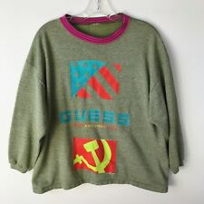 Vintage Guess Moscow Music Peace Festival 1989 Crew Sweater Green - Mens Small S