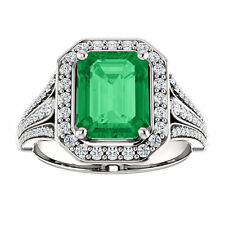 Engagement Ring 4.25 Ct. TCW Diamond and Emerald Sapp Ruby 14K Wedding Cocktail