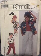 Vtg Simplicity Jiffy easy pattern 8157 Boys Shirt & Pull-on Pants or Shorts sz 4
