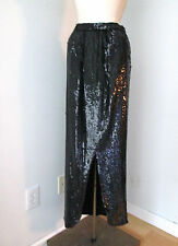 Vintage 70's black full fish scale sequined shimmer maxi disco skirt 24W