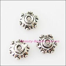 40Pcs Tibetan Silver Tiny Flower End Bead Caps Connectors 7mm