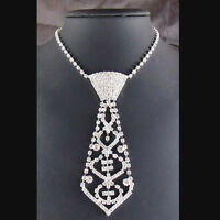 ELegance Sexy Bling Rhinestone Neck Tie Necklace for Prom Ball Bridal Party new