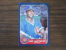 1986 Fleer # 373 Gary Matthews Autographed / Signed card (C) Chicago Cubs