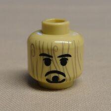 NEW Lego Minifig Head Black Beard & Moustache Over Wood Grain Pattern