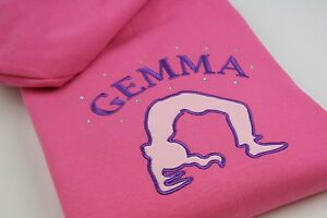 Girls Personalised Embroidered Applique Gymnastics Hoodie Age 3-13  2 Colours